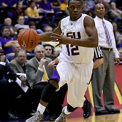 Jan 23, 2013; Baton Rouge, LA, USA; LSU Tigers guard Anthony Hickey (12) during the second half of a game against the Texas A&M Aggies at the Pete Maravich Assembly Center. LSU defeated Texas A&M 58-54. Mandatory Credit: Derick E. Hingle-USA TODAY Sports