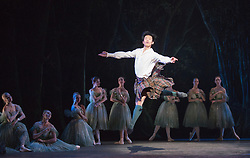 © Licensed to London News Pictures. 04/08/2015. London, UK. Qi Huan as James. Dress rehearsal of La Sylphide (some parts in partial costume). Australia's Queensland Ballet makes its London Coliseum debut with La Sylphide, the August Bournonville ballet is choreographed by Peter Schaufuss. Performances at the Coliseum from 5 to 8 August 2015. Photo credit: Bettina Strenske/LNP