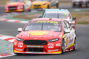 19th May 2018, Winton Motor Raceway, Victoria, Australia; Winton Supercars Supersprint Motor Racing; Scott McLaughlin leads the number 17 DJR Team Penske Ford Falcon FG X into the first corner during race 13 of the Supercars Championship