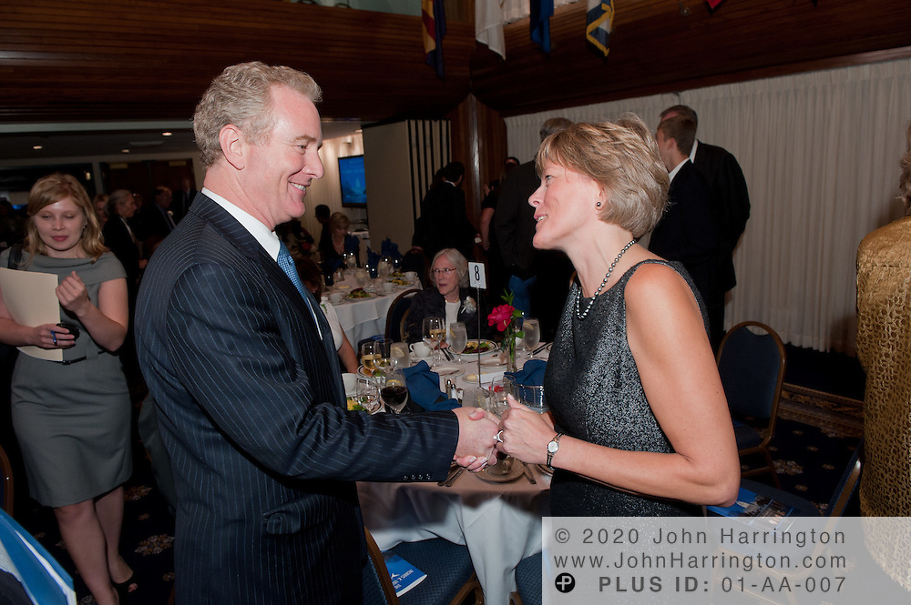 Representative Chris Van Hollen (D-MD) greets Amy Comstock Rick, CEO Parkinson's Action Network before he received the Morris K. Udall Awards for Public Service at the 2011 Morris K. Udall Awards Dinner at the National Press Club in Washington, DC on September 14th, 2011.