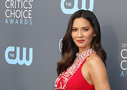 Olivia Munn at the 23rd Annual Critics' Choice Awards held at the Barker Hangar in Santa Monica, USA on January 11, 2018.