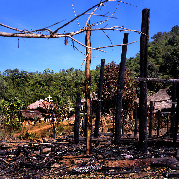 Burned house at the Akha village Huei Naam Kun that is located in the mountains near Chiang Rai.