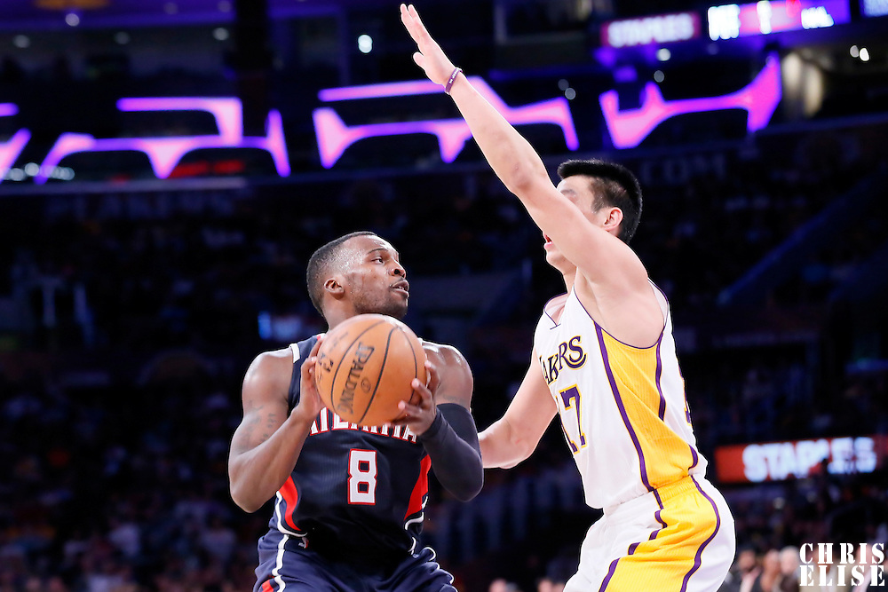 15 March 2015: Los Angeles Lakers guard Jeremy Lin (17) defends on Atlanta Hawks guard Shelvin Mack (8) during the Atlanta Hawks 91-86 victory over the Los Angeles Lakers, at the Staples Center, Los Angeles, California, USA.