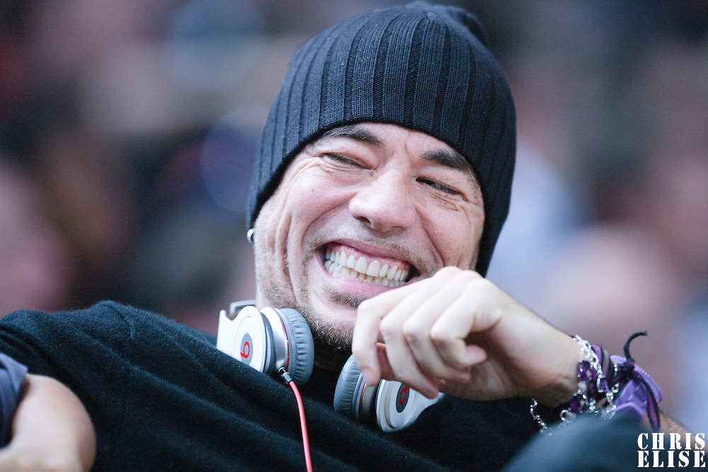 06 October 2010: French singer Pascal Obispo is seen during the Minnesota Timberwolves 106-100 victory over the New York Knicks, during 2010 NBA Europe Live, at the POPB Arena in Paris, France.