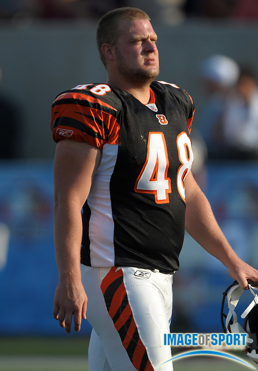Aug 8, 2010; Canton, OH, USA; Cincinnati Bengals long snapper Mike Windt (48) during the preseason game against the Dallas Cowboys at Fawcett Stadium. Photo by Image of Sport