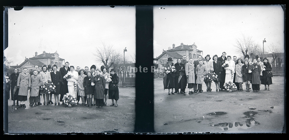 wedding group photo with in the background train station France circa 1930s