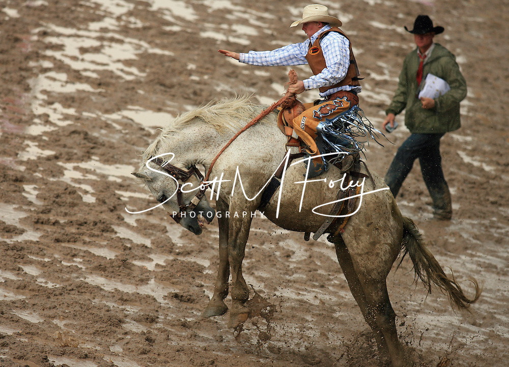 Saddle Bronc Rider Taos Muncy earns an impressive 84 score while riding 38 Crook JK, 28 July 2007, Cheyenne Frontier Days