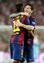 30.05.2015, Camp Nou, Barcelona, ESP, Copa del Rey, Athletic Club Bilbao vs FC Barcelona, Finale, im Bild FC Barcelona's Leo Messi (r) and Neymar Santos Jr celebrate goal // during the final match of spanish king's cup between Athletic Club Bilbao and Barcelona FC at Camp Nou in Barcelona, Spain on 2015/05/30. EXPA Pictures &copy; 2015, PhotoCredit: EXPA/ Alterphotos/ Acero<br /> <br /> *****ATTENTION - OUT of ESP, SUI*****