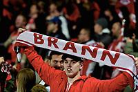 Fotball , 15. april 2018 , Eliteserien , Sarpsborg - Brann 1-2<br /> illustrasjon , fan , fans , skjerf , publikum , tilskuer
