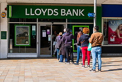 Lloyds bank on the moor Sheffield customers observe social distance recommendations while queuing<br /> Monday 22 March 2020<br /> <br /> www.pauldaviddrabble.co.uk<br /> All Images Copyright Paul David Drabble - <br /> All rights Reserved - <br /> Moral Rights Asserted -