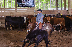May 20, 2017 - Minshall Farm Cutting 3, held at Minshall Farms, Hillsburgh Ontario. The event was put on by the Ontario Cutting Horse Association. Riding in the 5,000 Novice Horse Class is Troy Donaldson on Dual Peps Tom Cat owned by James Cook.