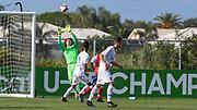 Team USA goalkeeper Edgar Mercado (12) makes a save during a CONCACAF boys under-15 championship soccer game, Sunday, Aug. 4, 2019, in Bradenton, Fla. The USA defeated Haiti 2-0 (Kim Hukari/Image of Sport)