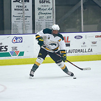 4th year forward, Jaycee Magwood (5) of the Regina Cougars during the Women's Hockey Home Game on Sat Oct 20 at The Co-operators Arena. Credit: Arthur Ward/Arthur Images