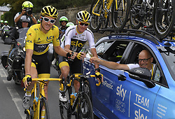 July 29, 2018 - Paris Champs-Elysees, France - PARIS CHAMPS-ELYSEES, FRANCE - JULY 29 : THOMAS Geraint (GBR) of Team SKY, FROOME Chris (GBR) of Team SKY, BRAILSFORD Dave (GBR) General Manager of Team SKY  during stage 21 of the 105th edition of the 2018 Tour de France cycling race, a stage of 116 kms between Houilles and Paris Champs-Elysees on July 29, 2018 in Paris Champs-Elysees, France, 29/07/18 (Credit Image: © Panoramic via ZUMA Press)