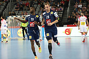 Luc Abalo and Valentin Porte (France) during the EHF 2018 Men's European Championship, 1/2 final Handball match between France and Spain on January 26, 2018 at the Arena in Zagreb, Croatia - Photo Laurent Lairys / ProSportsImages / DPPI