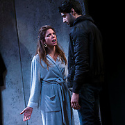 """July 10, 2015 - New York, NY : Alia Attallah, left, and Karan Oberoi perform in a dress rehearsal for Portland Center Stage<br /> and A Contemporary Theatre (ACT)'s presentation of Yussef El Guindi's """"Threesome"""" at 59E59 on Friday evening. CREDIT: Karsten Moran for The New York Times"""