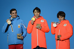 February 17, 2018 - Pyeongchang, South Korea - SHOMA UNO of Japan (right) , YUZURU HANYU of Japan (center) and JAVIER FERNANDEZ of Spain with their medals from the Men's Single Skating event in the PyeongChang Olympic Games. (Credit Image: © Christopher Levy via ZUMA Wire)
