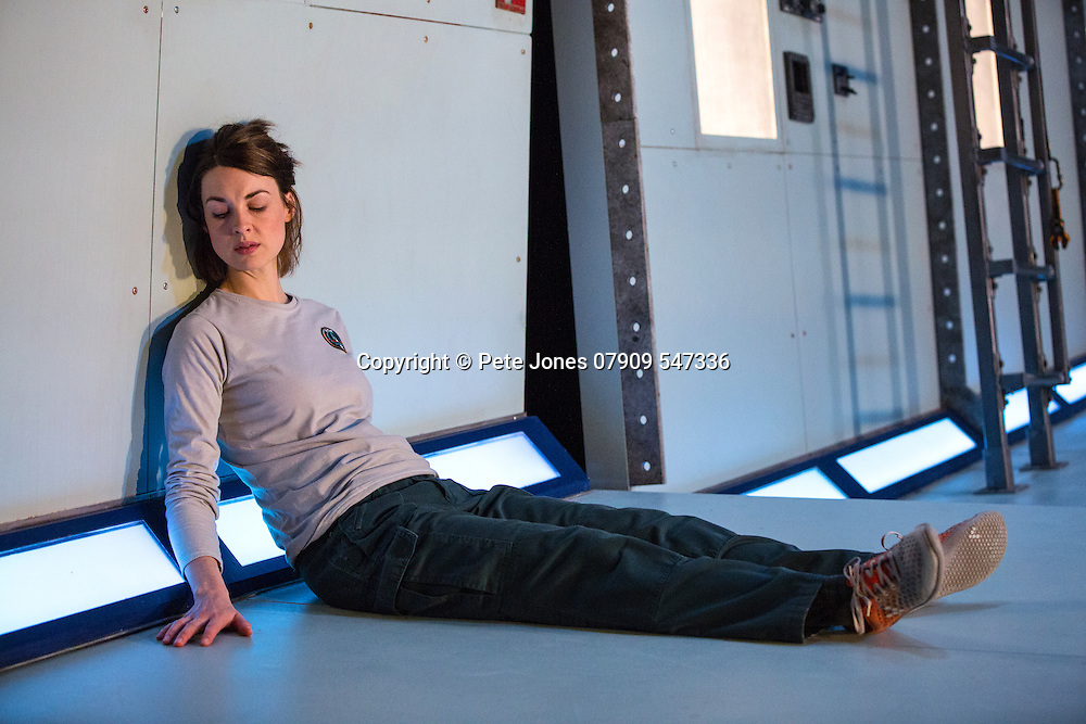 """""""X"""" by Alistair McDowell;<br /> Directed by Vicky Featherstone;<br /> Jessica Raine as Gilda;<br /> 1 April 2016;<br /> Jerwood Theatre Downstairs, Royal Ct, London, UK"""