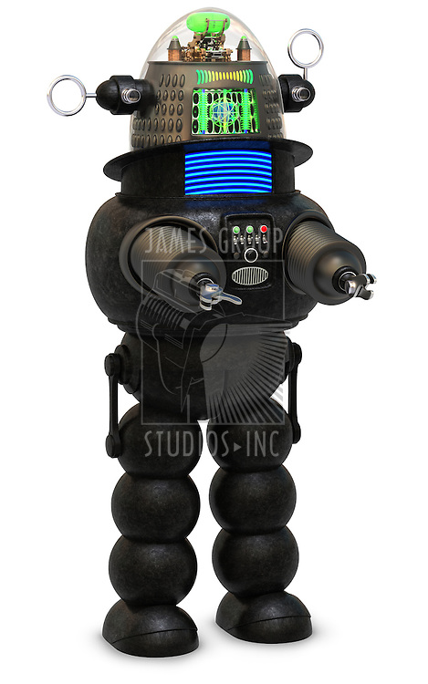 50's style robot on a white background
