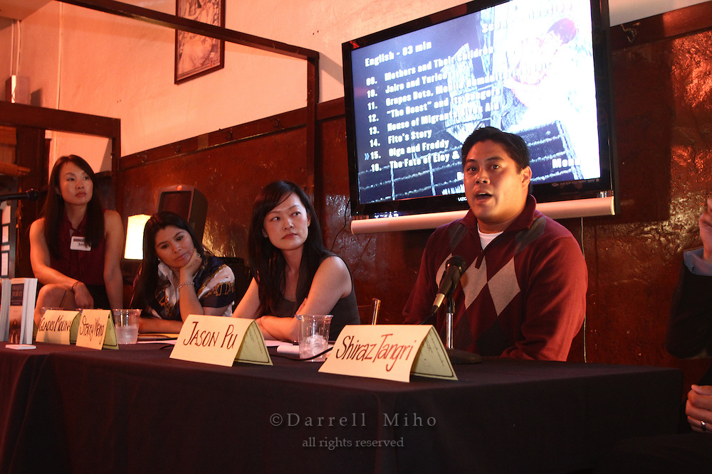 Sep. 08, 2010; Los Angeles, CA - KIND: Kids In Need of Defense panel discussion and mixer at the Far Bar in Little Tokyo. ..photo credit: Darrell Miho..(L to R).Moderator: Julie To, Staff Attorney, CA Dept of Real Estate.Panelists:.Gladis Molina, KIND Pro Bono Attorney Coordinator - Los Angeles.Stacey Wang, Associate, Holland & Knight LLP.Jason Pu, Solo Practitioner and Founder of jd8Records