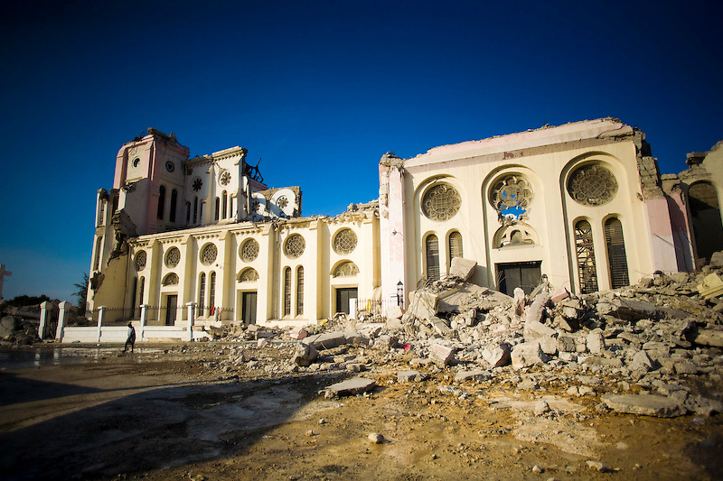 Haiti's National Cathedral collapsed during the earthquake. Port Au Prince, Haiti. Photo by Ben Depp.1/20/2010.