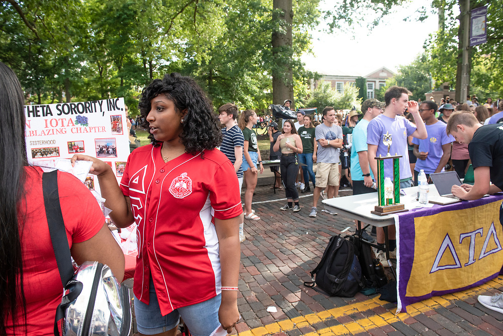 Sororities and fraternities try to recruit people during the 2019 Involvement Fair. Photo by Hannah Ruhoff