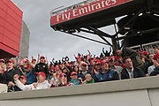 Fans cheer on Lancashire during the Vitality T20 Blast North Group match between Lancashire County Cricket Club and Yorkshire County Cricket Club at the Emirates, Old Trafford, Manchester, United Kingdom on 20 July 2018. Picture by George Franks.
