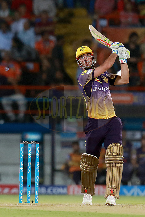 Chris Lynn of KKR plays a shot during match 3 of the Vivo 2017 Indian Premier League between the Gujarat Lions and the Kolkata Knight Riders held at the Saurashtra Cricket Association Stadium in Rajkot, India on the 7th April 2017<br /> <br /> Photo by Rahul Gulati - IPL - Sportzpic