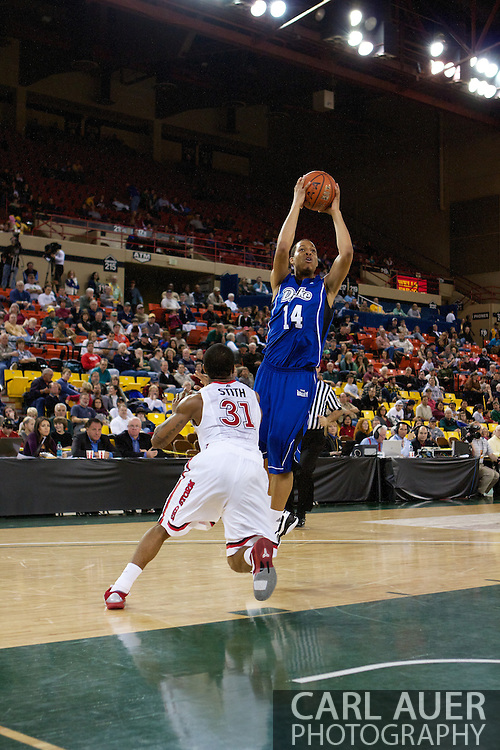 November 26th, 2010:  Anchorage, Alaska - Drake Bulldog freshman forward Jeremy Jeffers (14) elevates for a shot in the Bulldog's loss to St. Johns at the Great Alaska Shootout.  The Red Storm defense held Drake to a tournament low score as St. Johns advanced to the final game 82-39.