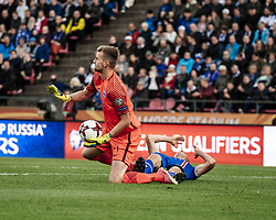 September 2, 2017 - Tampere, Finland - Finland's goalkeeper Lukas Hradecky during the FIFA World Cup 2018 Group I football qualification match between Finland and Iceland in Tampere, Finland, on September 2, 2017. (Credit Image: © Antti Yrjonen/NurPhoto via ZUMA Press)
