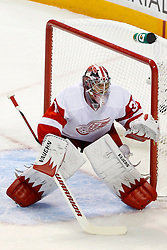 May 8, 2011; San Jose, CA, USA;  Detroit Red Wings goalie Jimmy Howard (35) defends his goal against the San Jose Sharks during the first period of game five of the western conference semifinals of the 2011 Stanley Cup playoffs at HP Pavilion. Mandatory Credit: Jason O. Watson / US PRESSWIRE