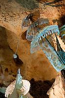 Hindu altar decoration inside the cave temple complex at Goa Giri Putri on Nusa Penida, Bali, Indonesia
