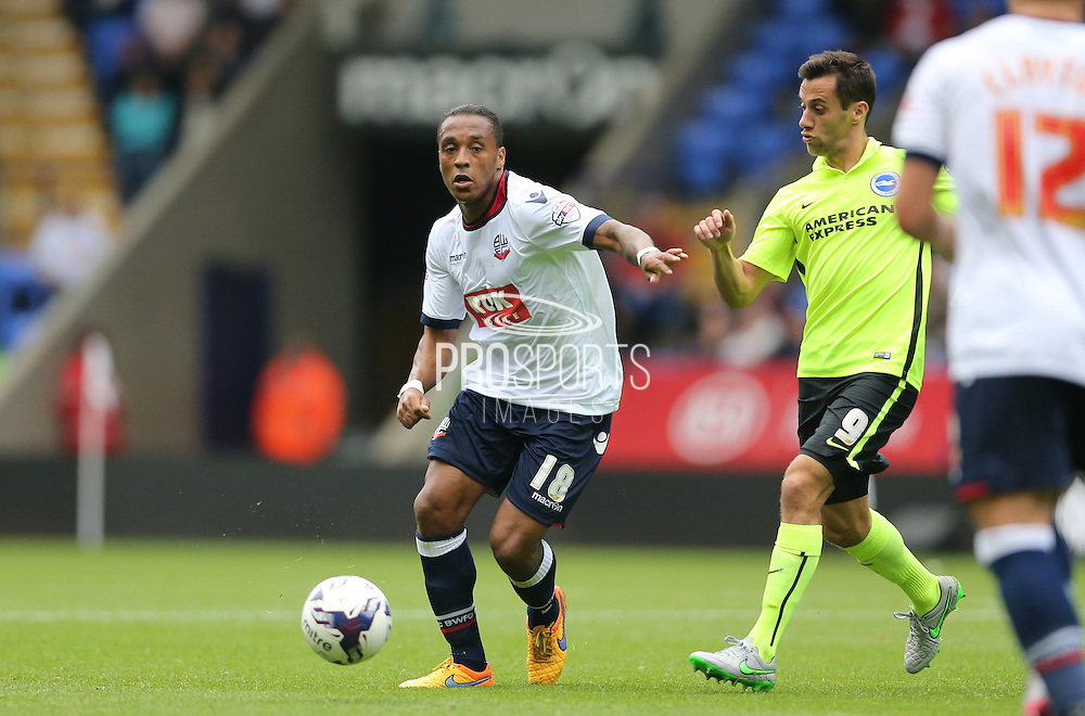 Bolton Wanderers midfielder Neil Danns attacks during the Sky Bet Championship match between Bolton Wanderers and Brighton and Hove Albion at the Macron Stadium, Bolton, England on 26 September 2015.