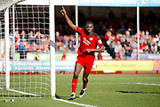 Crawley Town midfielder Enzio Boldewijn (7) celebrates his goal (score 3-0) during the EFL Sky Bet League 2 match between Crawley Town and Leyton Orient at the Checkatrade.com Stadium, Crawley, England on 25 March 2017. Photo by Andy Walter.