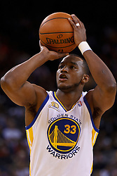 Mar 16, 2012; Oakland, CA, USA; Golden State Warriors forward Chris Wright (33) shoots a free throw against the Milwaukee Bucks during the fourth quarter at Oracle Arena. Milwaukee defeated Golden State 120-98. Mandatory Credit: Jason O. Watson-US PRESSWIRE