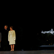 Presidential Inauguration 2005- GEORGE W. BUSH.Washington, DC.01/19/2005.Celebration of Freedom.The Ellipse- Washington, DC.US President George W Bush and Vice President Dick Cheney and their wives at celebration. U.S. President George W. Bush (R), first lady Laura Bush (2nd R), Vice President Dick Cheney (L) and Lynne Cheney (2nd)..Photo by Khue Bui..