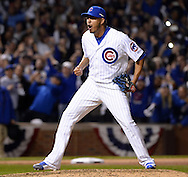 CHICAGO, IL - OCTOBER 12:  Hector Rondon #56 of the Chicago Cubs reacts after recording the final out during Game 3 of the NLDS against the St. Louis Cardinals at Wrigley Field on Monday, October 12, 2015 in Chicago , Illinois. (Photo by Ron Vesely/MLB Photos via Getty Images) *** Local Caption *** Hector Rondon