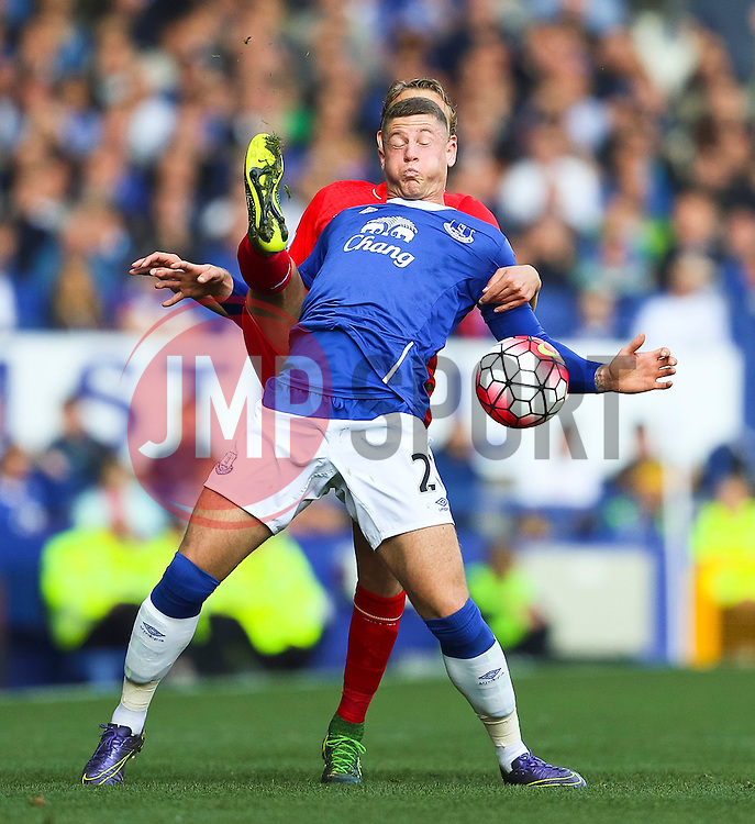 Everton's Ross Barkley battles for the ball with Lucas Leiva of Liverpool  - Mandatory byline: Matt McNulty/JMP - 07966 386802 - 04/10/2015 - FOOTBALL - Goodison Park - Liverpool, England - Everton  v Liverpool - Barclays Premier League
