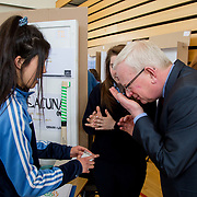 27.04. 2017.          <br /> Pictured at the Limerick Institute of Technology (LIT) SciFest were, Prof. Vincent Cunnane, President LIT with Scoil Pol, Kilfinnane Students, Roisin Tan and Clodagh O'Brien with their project Lacuna A Missing Part of Sport. Picture: Alan Place.