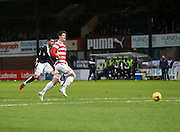 Dundee&rsquo;s Kane Hemmings fires home his side's fourth goal to complete his hat-trick - Dundee v Hamilton, Ladbrokes Premiership at Dens Park<br /> <br />  - &copy; David Young - www.davidyoungphoto.co.uk - email: davidyoungphoto@gmail.com