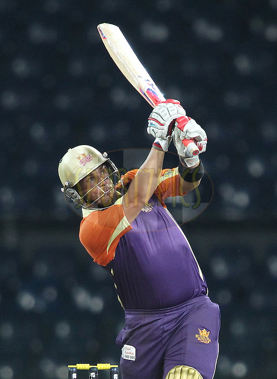 Aaron Finch of Ruhuna Royals hits over the top for a boundary during match 20 of the Sri Lankan Premier League between Ruhuna Royals and Wayamba United held at the Premadasa Stadium in Colombo, Sri Lanka on the 26th August 2012. .Photo by Shaun Roy/SPORTZPICS/SLPL