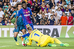 August 13, 2017 - Barcelona, Catalonia, Spain - Real Madrid defender MARCELO competes with FC Barcelona defender UMTITI and FC Barcelona goalkeeper TER STEGEN for the ball during the Spanish Super Cup Final 1st leg between FC Barcelona and Real Madrid at the Camp Nou stadium in Barcelona (Credit Image: © Matthias Oesterle via ZUMA Wire)