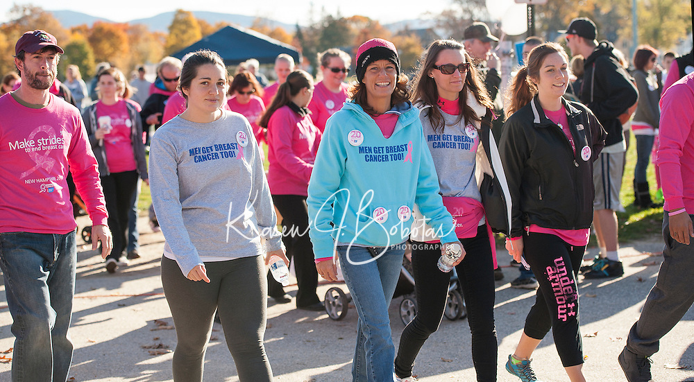Heading out of Opechee Park Judy Driscoll (center) walks for her dad, a 10 year breast cancer survivor, alongside her are Jeannine Driscoll and Calise Houle during Laconia's Making Strides Against Breast Cancer walk Sunday morning.  (Karen Bobotas/for the Laconia Daily Sun)