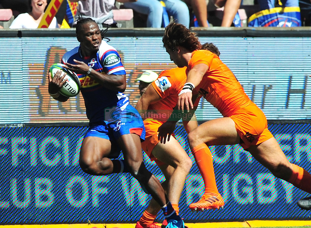 Cape Town-180217 Stomers player Seabelo Seanatla  tackled by Bautista  Ezcrra of Jaguares in the opening game of the Super 15 at Newlands .Stomers won the game 28-25.photograph:Phando Jikelo/African News Agency/ANA