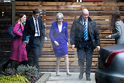 © Licensed to London News Pictures. 06/02/2018. Manchester, UK. THERESA MAY leaves Manchester in the snow , out of public view , on the 100th anniversary of Parliament granting some women the vote in Britain for the first time. 100 years after the Representation of the People Act 1918 becoming law, the Prime Minister has spoken of the 'tone of bitterness and aggression' within public discourse, particularly where female, gay or ethnic minority politicians are concerned. Photo credit: Joel Goodman/LNP