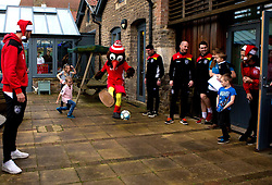 Richard O'Donnell of Bristol City and Scrumpy the mascot play football with children during Bristol City's visit to the Children's Hospice South West at Charlton Farm - Mandatory by-line: Robbie Stephenson/JMP - 21/12/2016 - FOOTBALL - Children's Hospice South West - Bristol , England - Bristol City Children's Hospice Visit