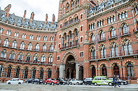 St Pancras Renaissance Hotel, St Pancras, London, UK. At the same location is St Pancras Railway Station from where the Eurostar high speed trains operate to Continental Europe via the Channel Tunnel. The St Pancras Complex also incorporates many big name stores and restaurants. 201609044264<br />