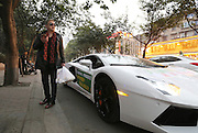 CHENGDU, CHINA - JANUARY 06: (CHINA OUT) <br /> <br /> Manager Drives Lamborghini To Deliver Steamed Stuffed Bun<br /> <br /> A Lamborghini is parked outside a steamed stuffed buns shop on January 6, 2016 in Chengdu, Sichuan Province of China. The manager drove luxury cars to deliver to the customers who ordered over 200 steamed stuffed buns on the opening day of the steamed stuffed buns shop in Chengdu. The manager wanted the customers know that he didn\'t lack money and so that the steamed stuffed buns he sold were safe to eat.<br /> ©Exclusivepix Media