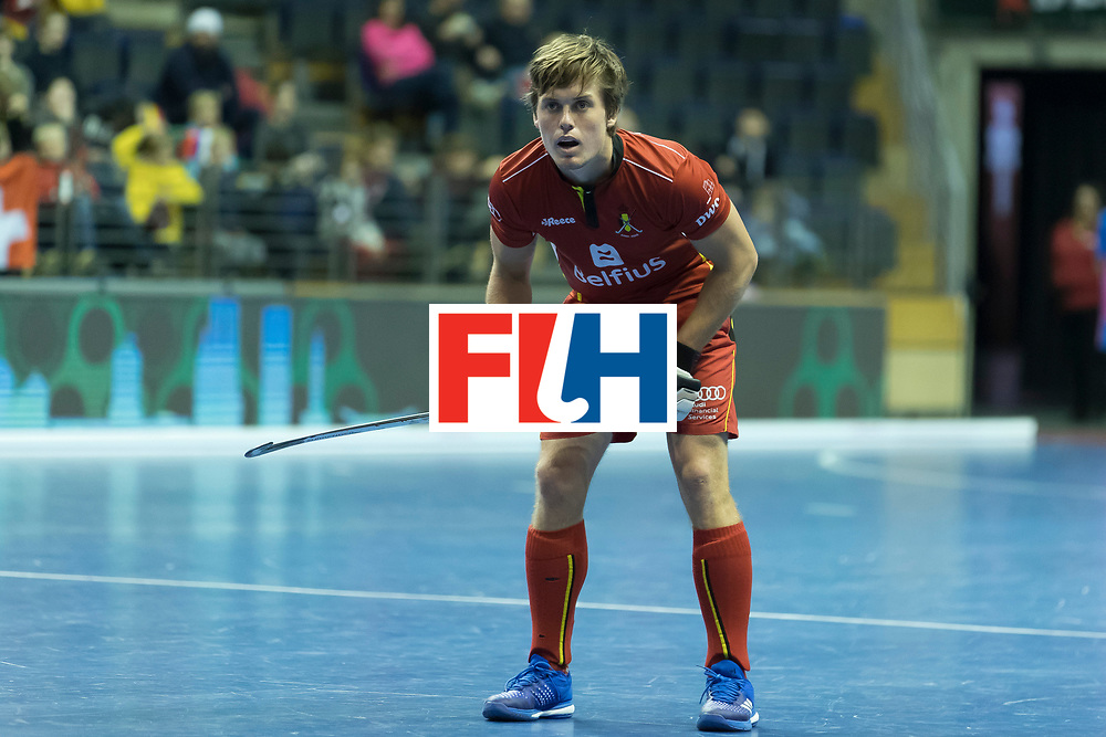 Hockey, Seizoen 2017-2018, 08-02-2018, Berlijn,  Max-Schmelling Halle, WK Zaalhockey 2018 MEN, Belgium - Russia 4-5, BOON Tom (BEL). Worldsportpics copyright Willem Vernes