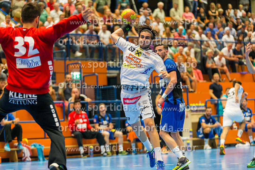 10.09.2016, Sporthalle Bruck an der Mur, Bruck an der Mur, AUT, HLA, HC Bruck vs HC Fivers WAT Margareten, im Bild Emir Taletovic (Bruck), Herbert Jonas (Fivers) // during the Handball League Austria match between HC Bruck vs HC Fivers WAT Margareten at the sport Hall, Bruck an der Mur, Austria on 2016/09/10, EXPA Pictures © 2016, PhotoCredit: EXPA/ Dominik Angerer